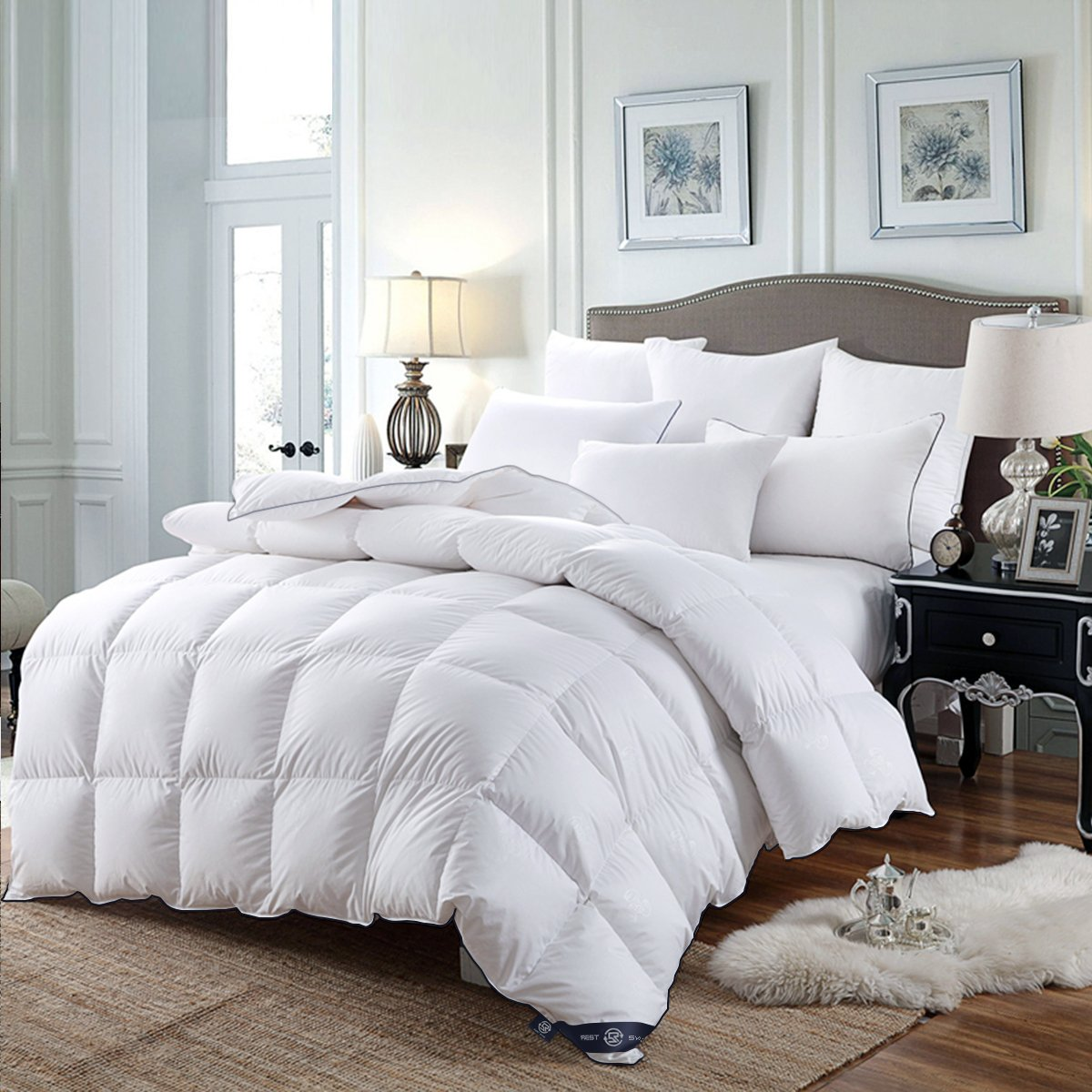 LUXURIOUS King Size All Seasons White DOWN Comforter, 300 Thread Count 100% Egyptian Cotton 600FP Duvet Insert by REST SYNC, White Solid