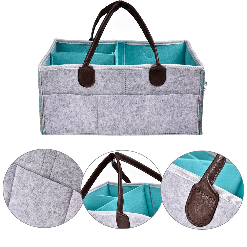 Baby Diaper Caddy Bag Foldable Nappy Storage Bin Felt Nursery Basket Wipes Bag with Changeable Compartments for Mom Kids Car Travel, Grey (Grey and Blue) Lacyie