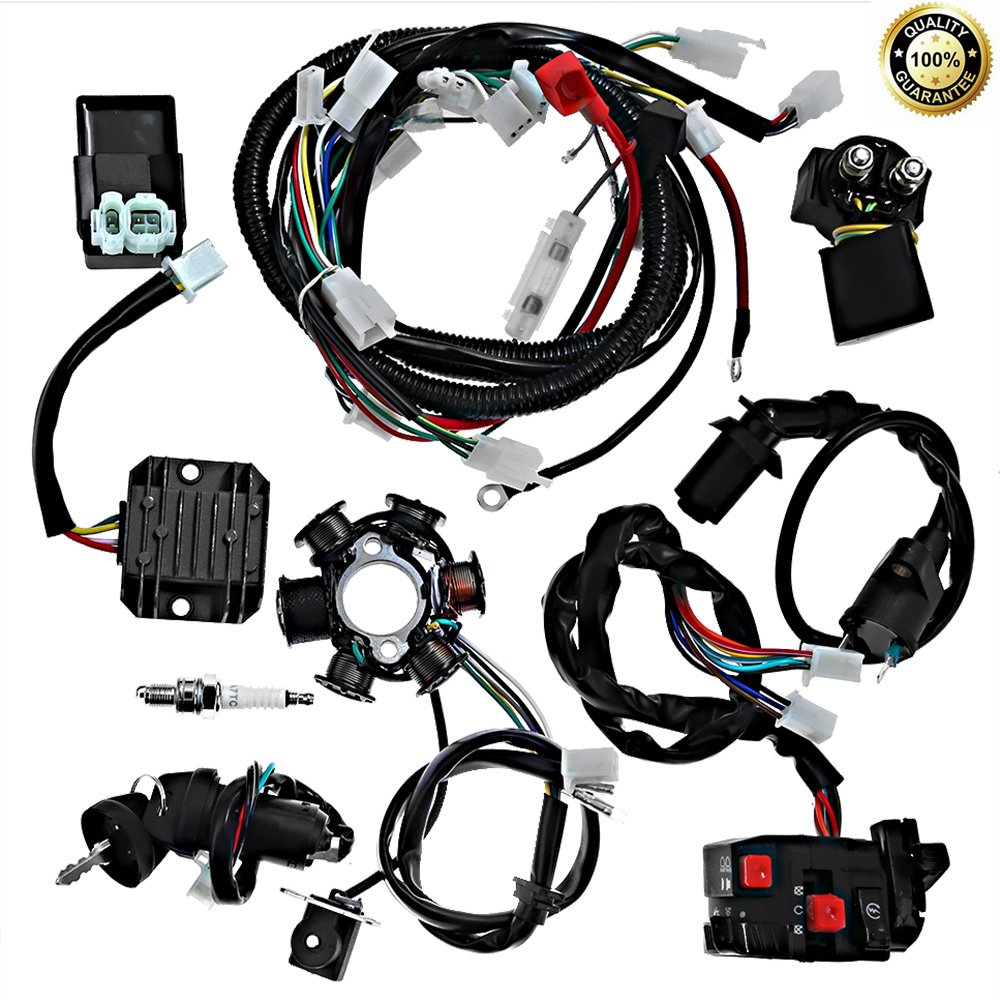 Complete electrics all wiring harness wire loom assembly for GY6 4-Stroke Engine Type 125cc 150cc Pit Bike Scooter ATV Quad by Hoypeyfiy