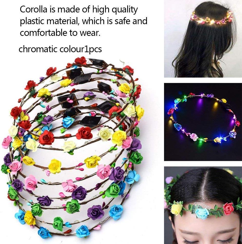 DGdolph Led Glowing Wreath Flower Crown Hair Band Flower Hair Accessory Festival