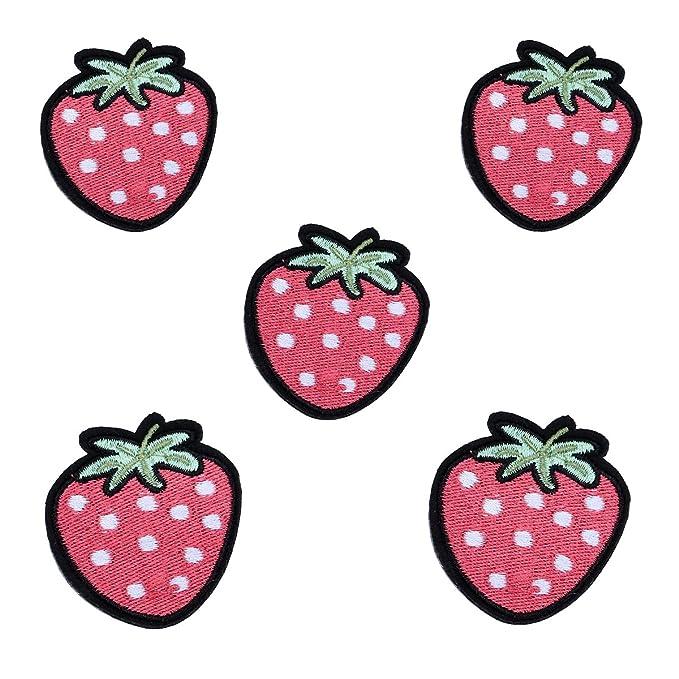 Erdbeere Frucht pink 6.5 x 7.7 cm Aufnäher // Bügelbild