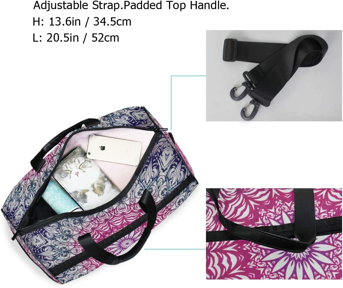 FAJRO Gym Bag Travel Duffel Express Weekender Bag Mandala Pattern Carry On Luggage with Shoe Pouch