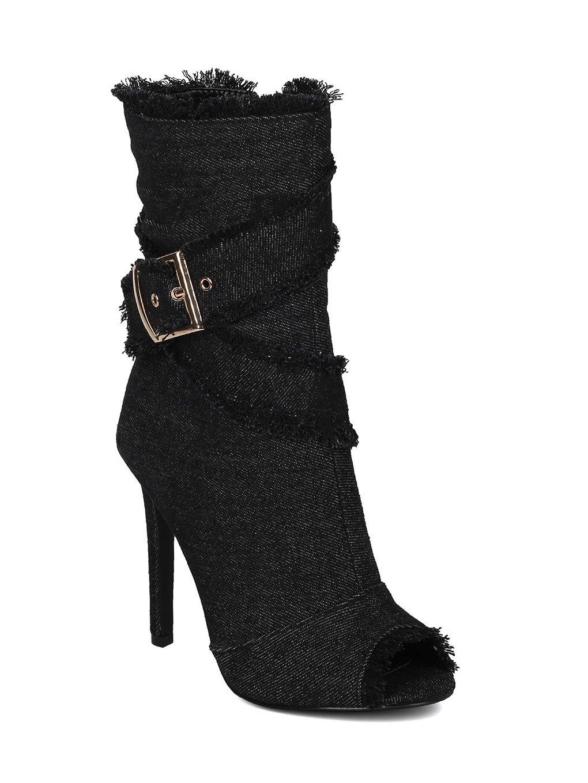 Alrisco Women Denim Peep Toe Frayed Stiletto Ankle Boot HC44 - Black/Denim (Size: 8.5)