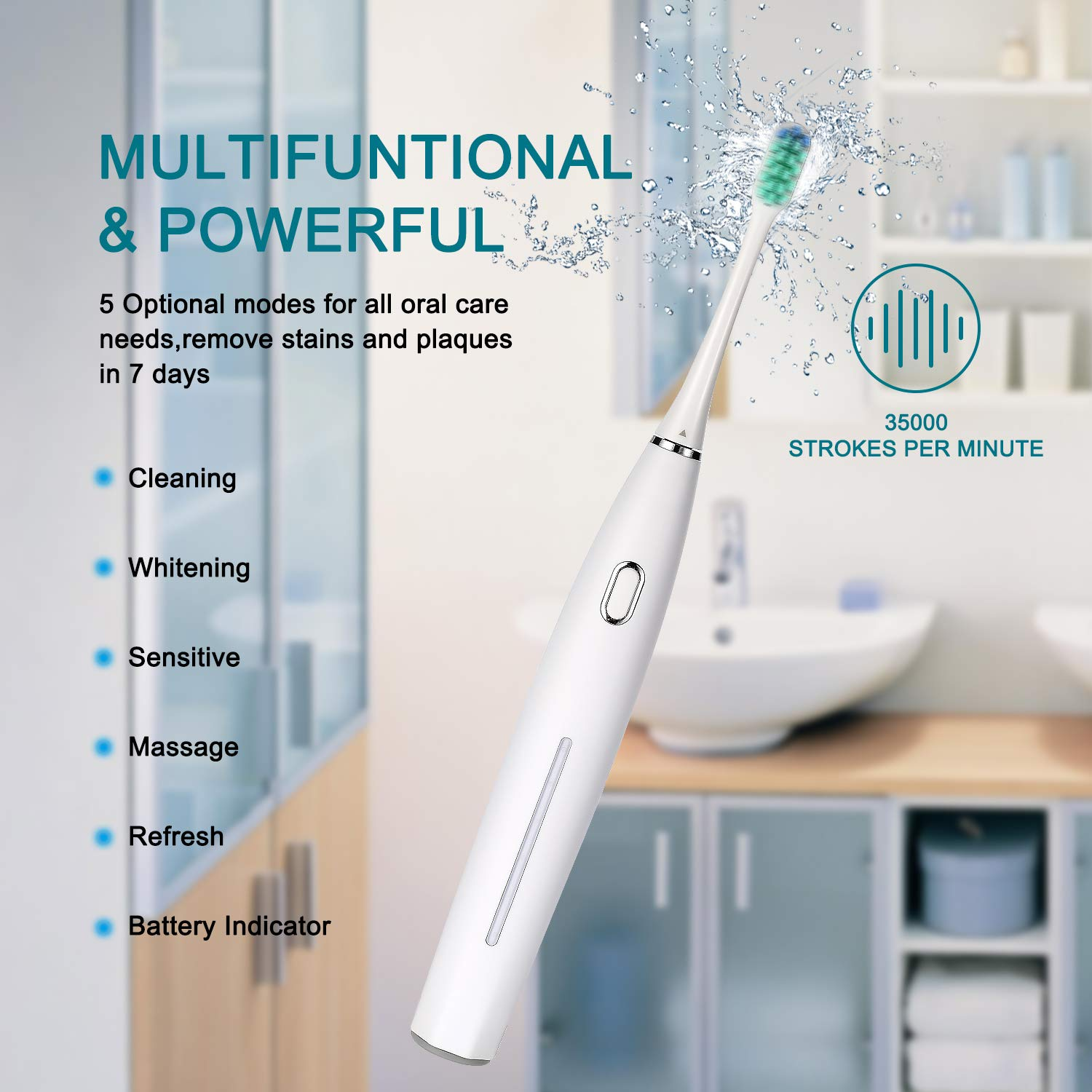 2 Sonic Electric Toothbrushes 5 Modes 6 Brush Heads Powered Toothbrush 4 Hours Charge Minimum Use 30 Days, Built-in Smart Timer USB Rechargeable Toothbrushes for Couple & Families(1 Black and 1 White)