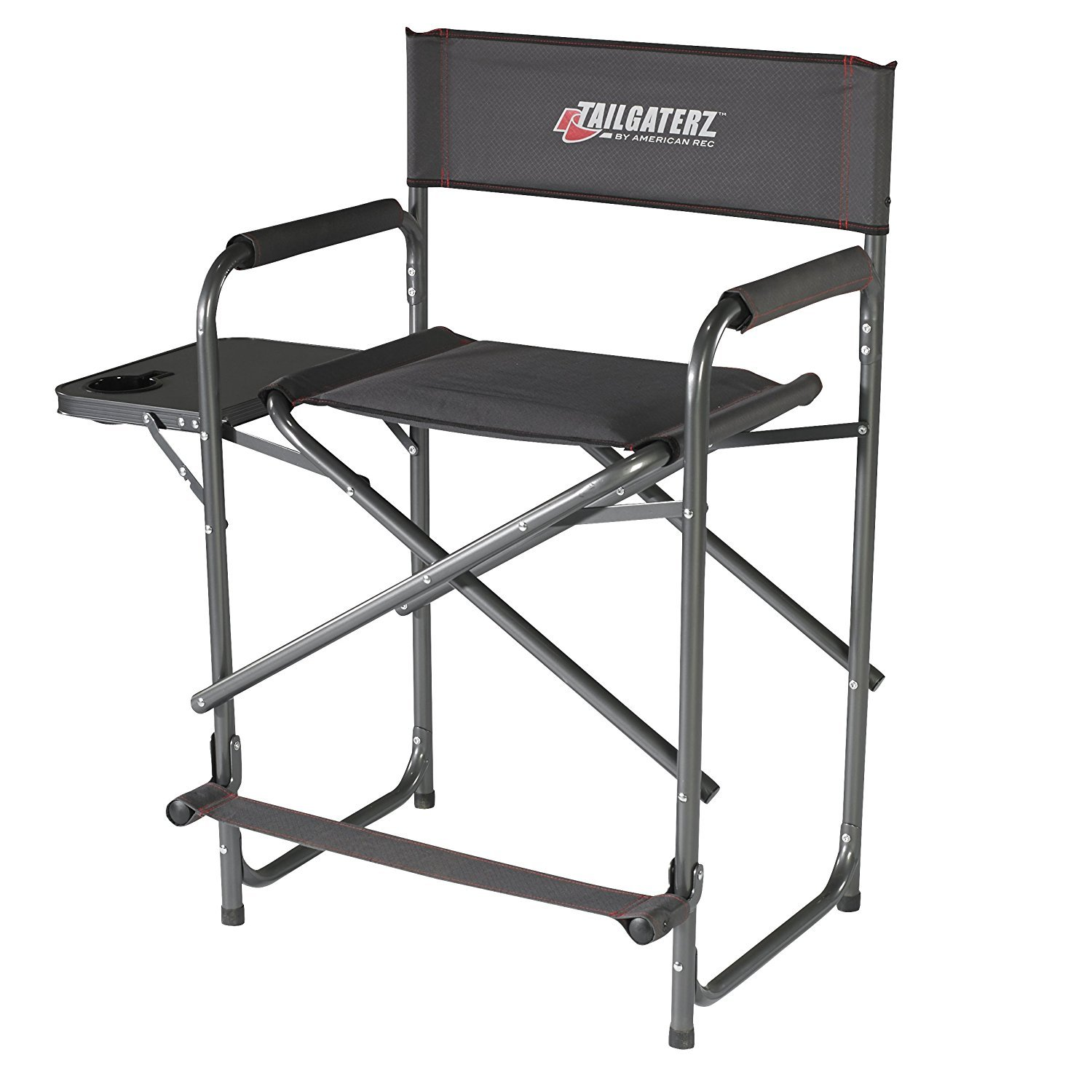 Tailgaterz Take-Out Seat Steel Chair with Side Table Game Day Graphite [並行輸入品] B077QQR1C3