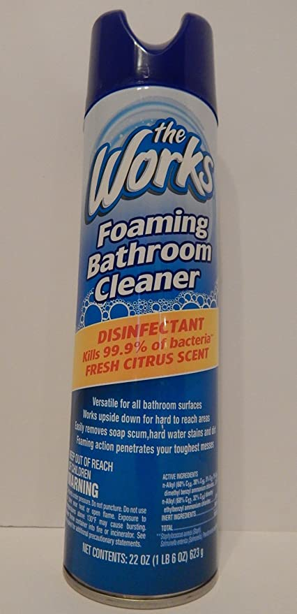 The Works Foaming Bathroom Cleaner Disinfectant (2 Cans) Fresh Citrus Scent