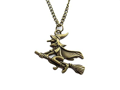 Amazon witch necklace witch on a broom pendant halloween witch necklace witch on a broom pendant halloween jewelry witch pendant halloween aloadofball Image collections