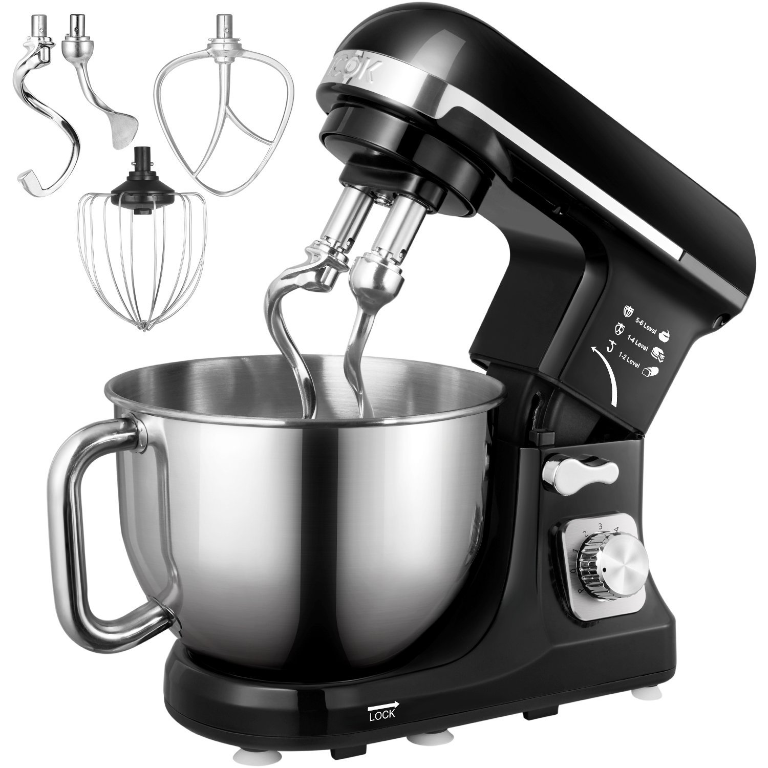 Stand Mixer, Aicok 5-Quart 500-Watt 6-Speed Dough Mixer with Stainless Steel Bowl, Tilt-Head Food Mixer, Kitchen Electric Mixer with Double Dough Hooks, Whisk, Beater, Pouring Shield, Black