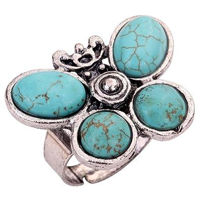 YAZILIND Jewelry Vintage Rimous Red Irregular Turquoise Tibetan Silver Striking Adjustable Ring acpNNy