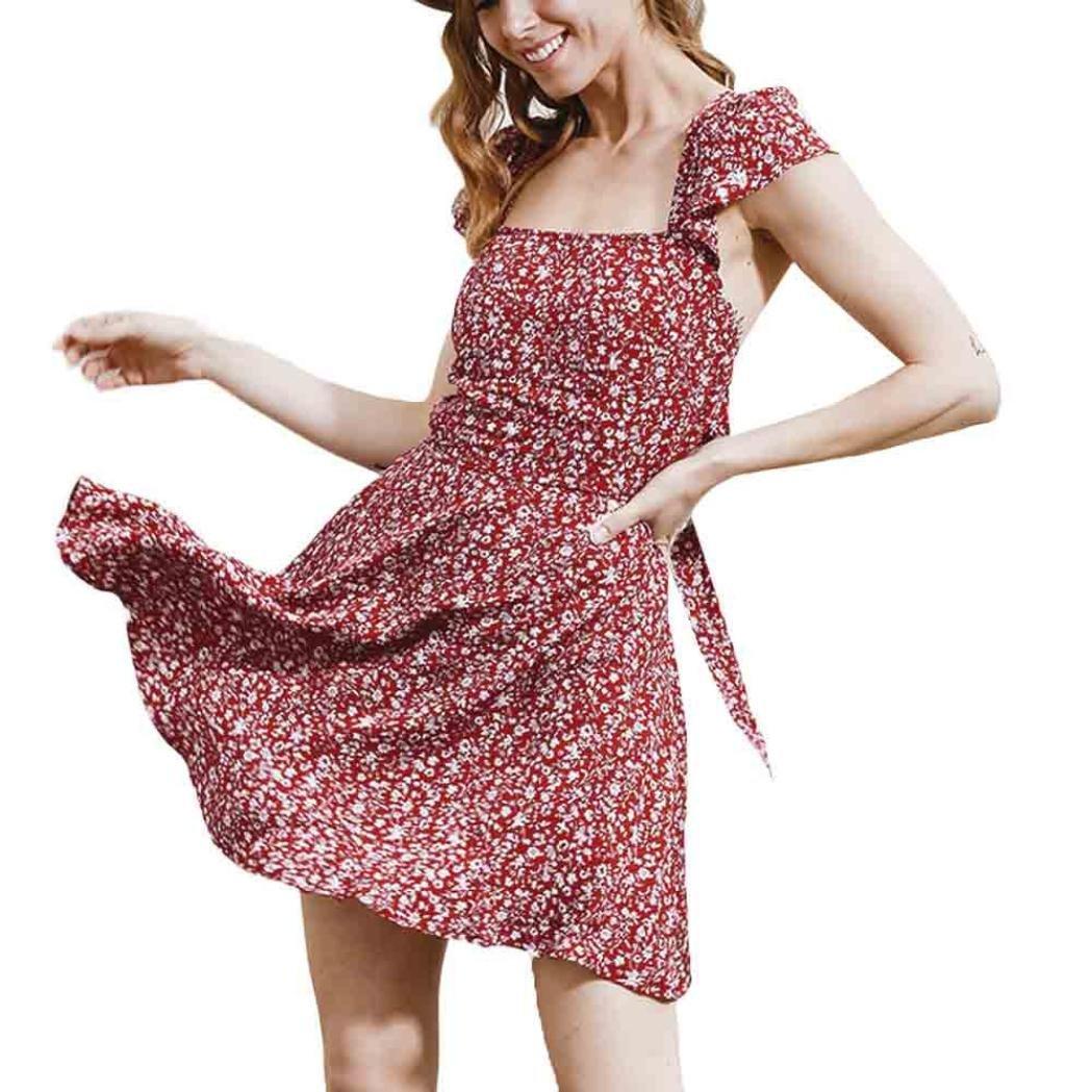 paymenowレディースセクシー花柄ストラップバンデージキャミソールノースリーブミニドレス XL Knee dress-020 B072Q98DJT  レッド XL