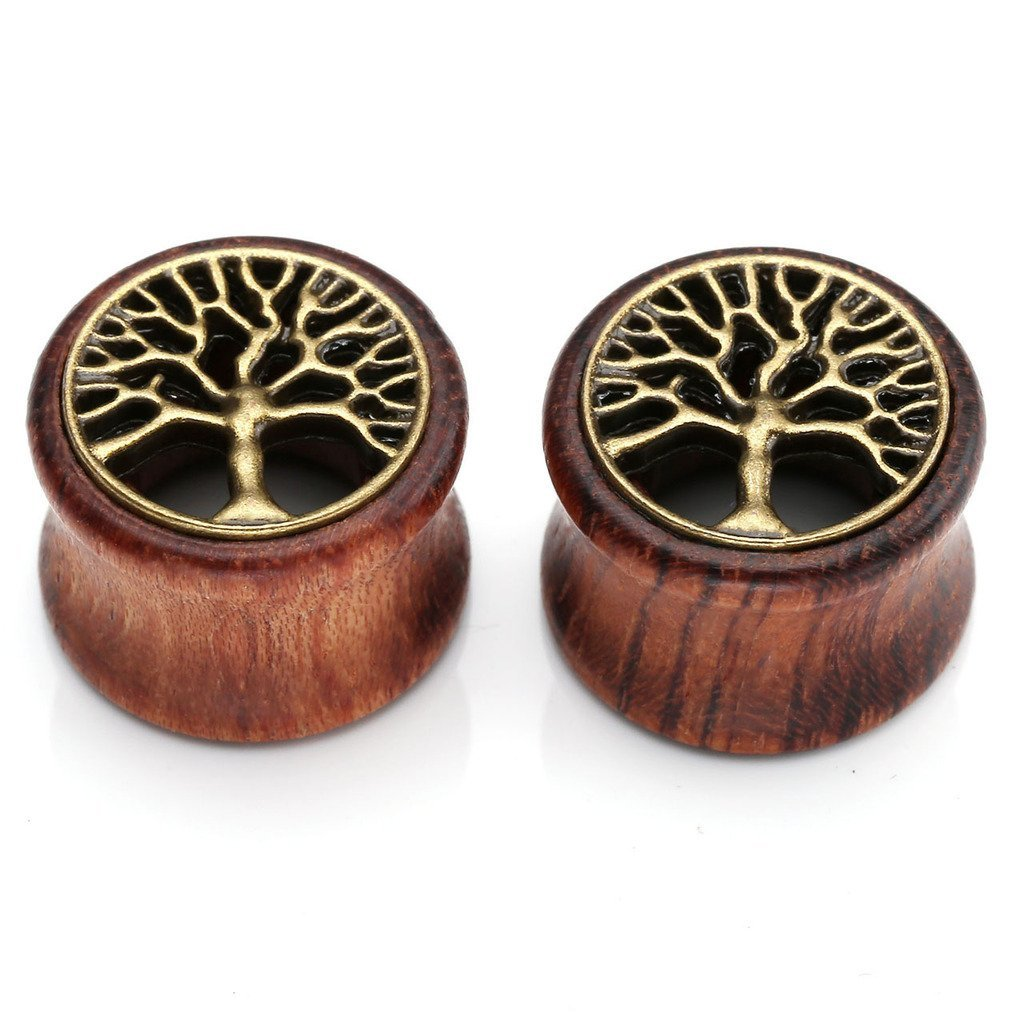 PiercingJ 2-14pcs 0G-3/4'' Tree of Life Natural Organic Sono Wood Doule Flared Tunnel Plugs Ear Stretchers