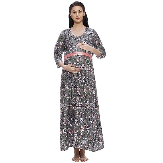 e7ec5f1b8eddd VIXENWRAP Olive Green Cotton Printed Maternity Dress: Amazon.in ...