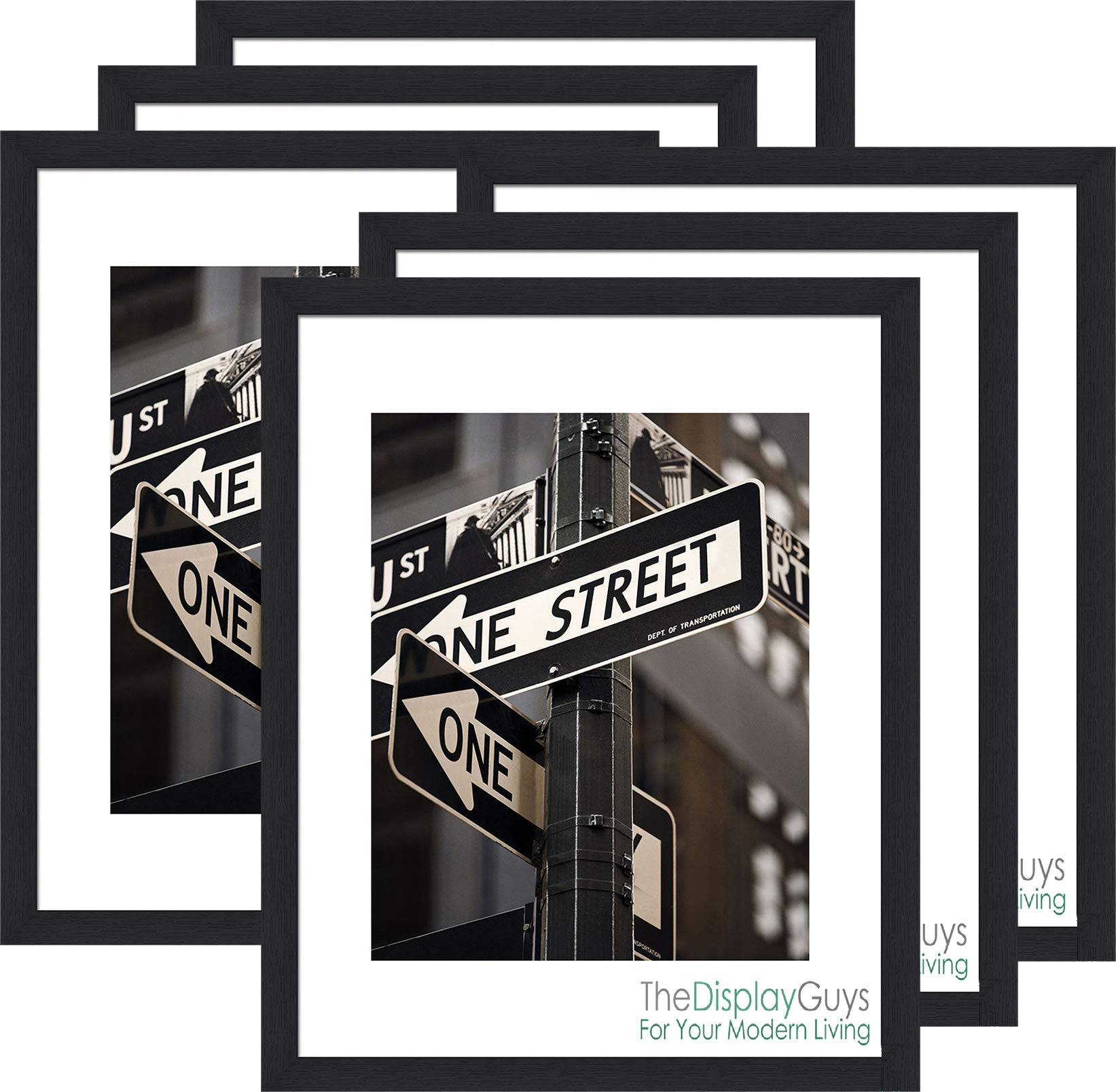 The Display Guys 11x14 Black Photo Picture Wooden Frame with Mat Board for 8x10 Image, Value 6-Pack