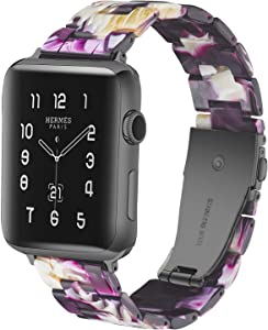 LINKWOW Compatible with Apple Watch Band 38mm 40mm 42mm 44mm Ladies and Men Fashion Resin Watch Band with Stainless Steel Clasp Suitable for Apple Watch Series 5/4/3/2/1 Wristband Bracelet