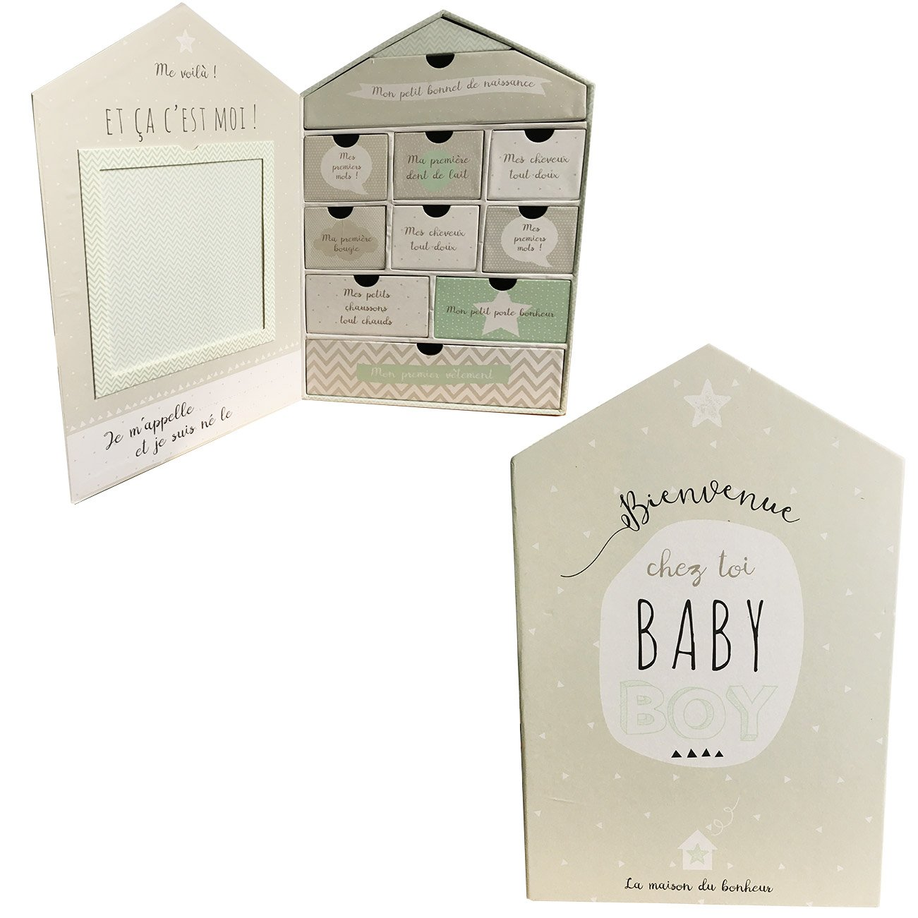 Cofre grande para recuerdos de bebé con forma de casa y 9 cajones, diseño para niño en color gris Générique
