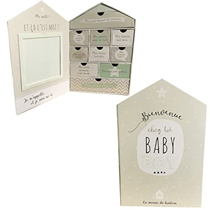 Cofre grande para recuerdos de bebé con forma de casa y 9 ...