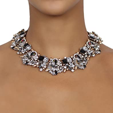Nikita By Niki Gold Luxury Statement Rhinestone Necklace