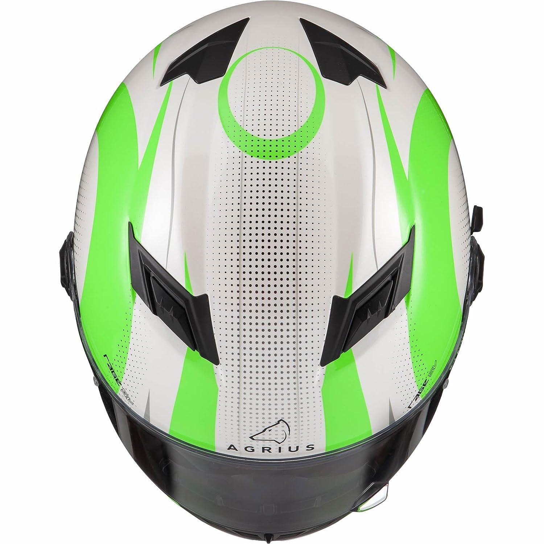 Agrius Rage SV Warp Motorcycle Helmet XXL Gloss Pearl White//Green