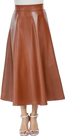 Zeagoo - Falda larga de invierno para mujer, de cintura alta, de ...