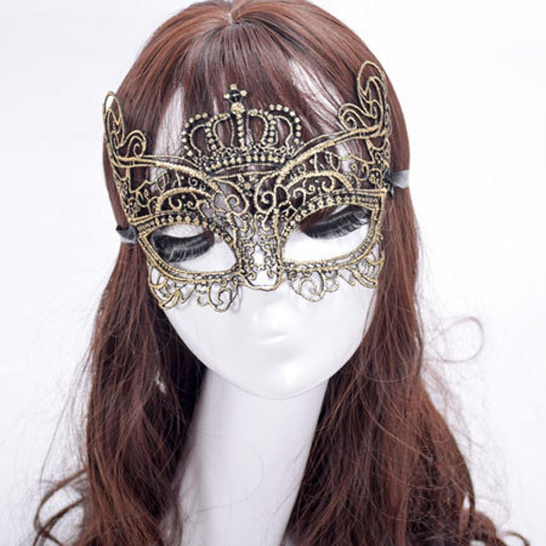 DEESEE(TM)🌸🌸Elegant Crown Lace Cut Venetian Halloween Ball Masquerade Luxury Mask (Gold): PC: Video Games