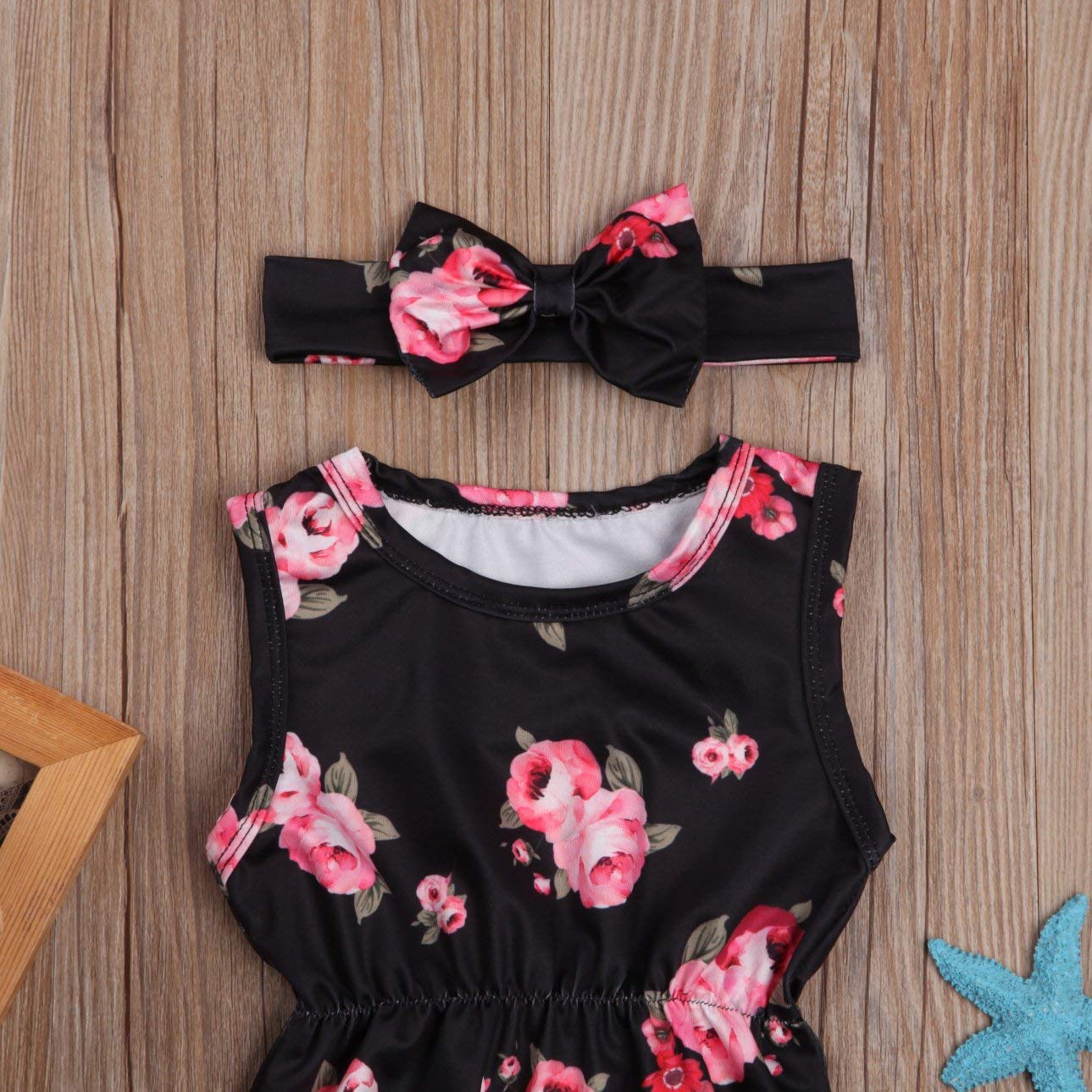 Headband Outfits Clothes Set douleway Baby Girl Floral Rose Sleeveless Tassel Button Romper