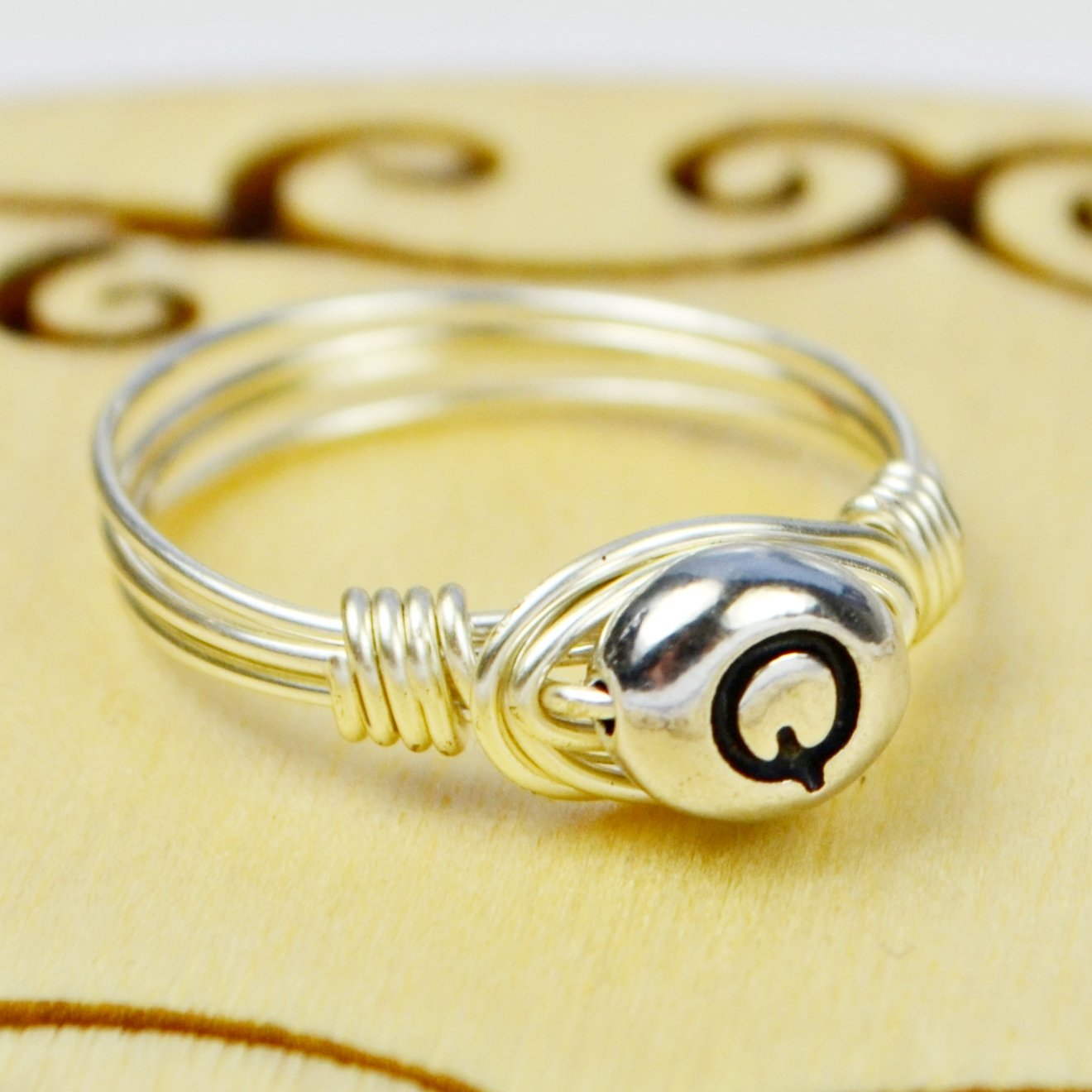 .925 Sterling Silver Letter Q Bead