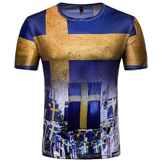 QUICKLYLY Camiseta Para Hombre Fútbol Impresión Algodón Manga Corta Delgado Ajuste Blouse Para La Copa del