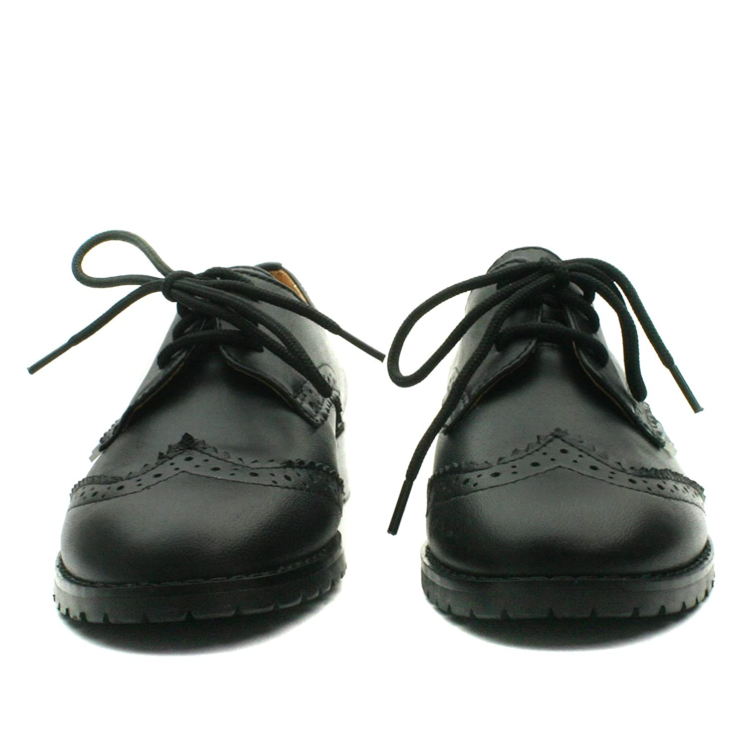 STINGFORD Step2wo School Shoe Laceup for Girls in Black Lea Leather Tamaño 30 qq6qqk
