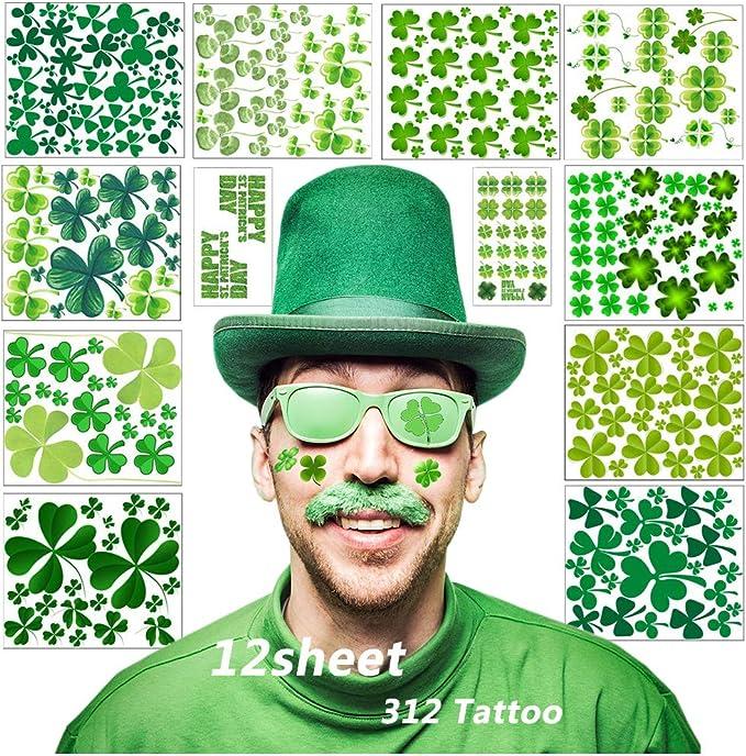Tatuajes de trébol, 12 hojas Trébol de cuatro hojas Pegatinas de ...