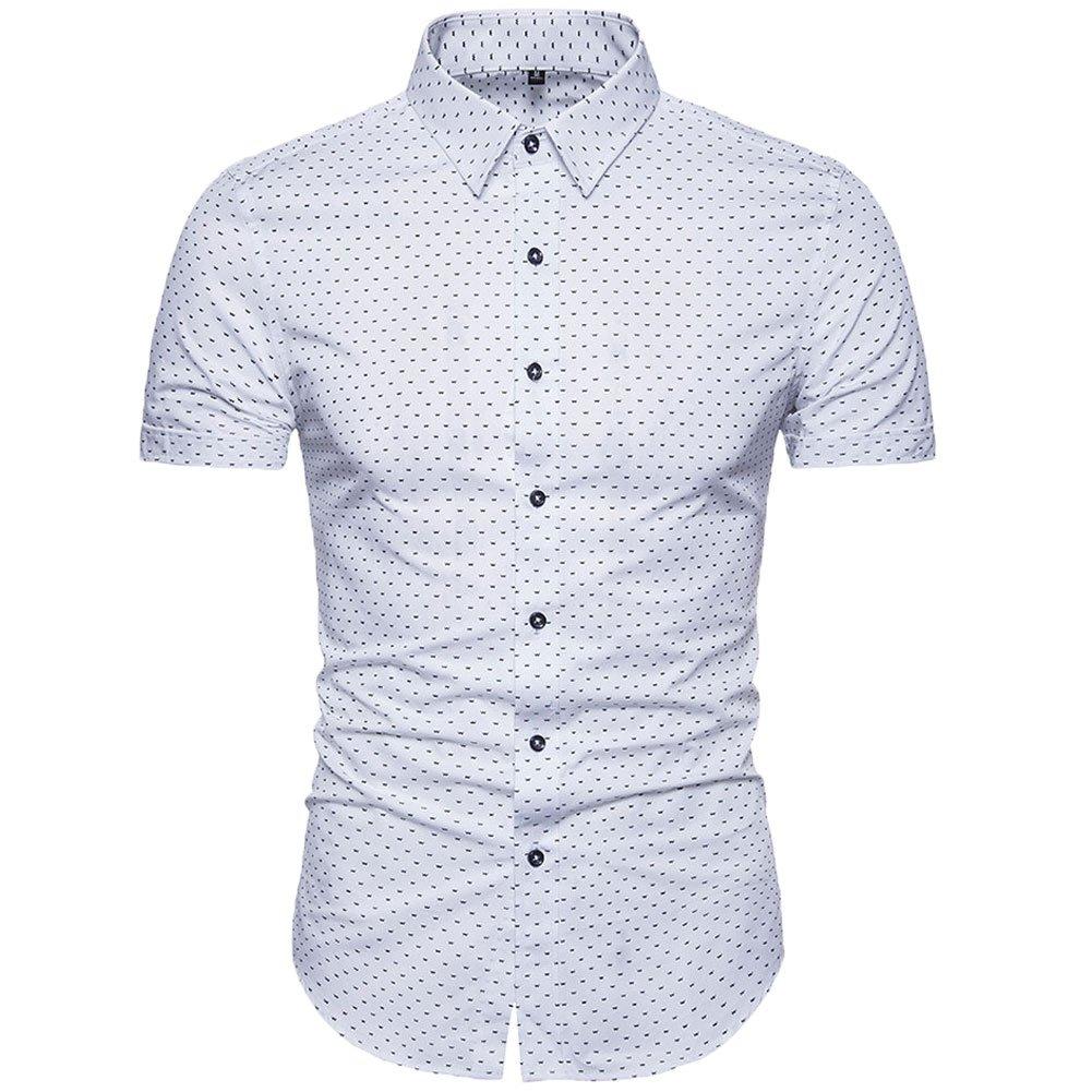 MUSE FATH Men's Printed Dress Shirt-100% Cotton Casual Short Sleeve Shirt-Regular Fit Button Down Point Collar Shirt