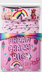 Jojo Siwa Comforter and Sheets 5pc Bedding Set, Pink, Multi , Full