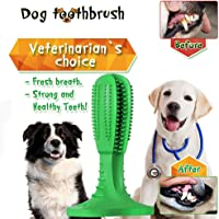 Macro Dog Toothbrush, 2019 Upgraded Natural Rubber Dog Brushing Stick Soft Puppy Chew Toy Cleaner Dog Toothbrush Chew Toy for Dog 20-45 lbs Oral Dental Care (Medium)