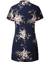 Eloise Isabel Fashion Mulheres vestidos bonito chocker flor impresso v neck manga curta azul marinho dress