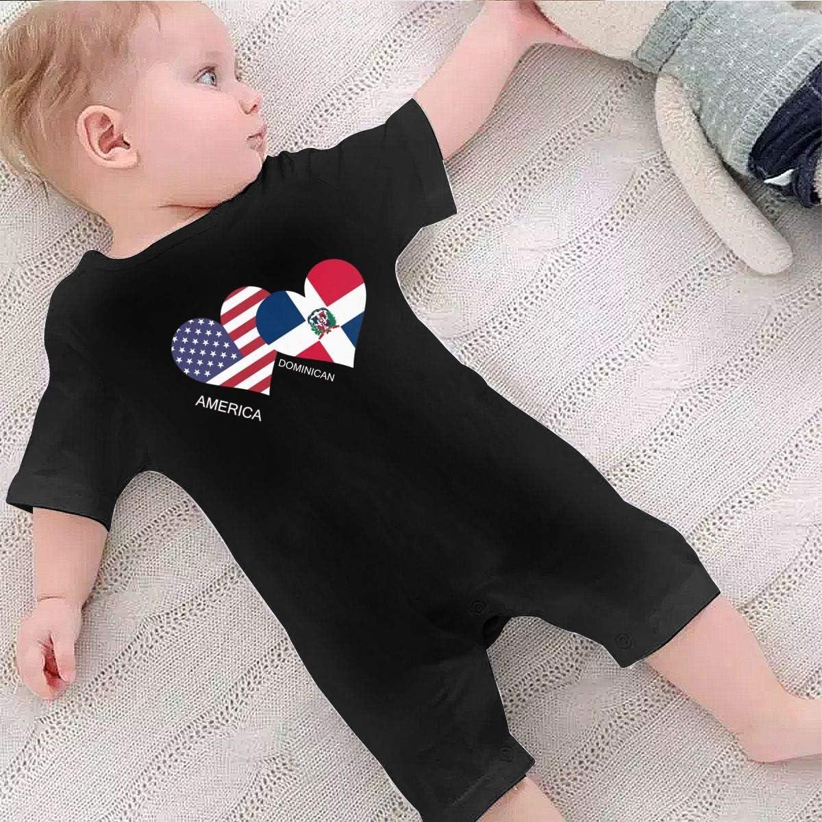 AYL8pf America Dominican Flag Heart Baby Boy Cotton Bodysuit One Piece Kids Pajamas