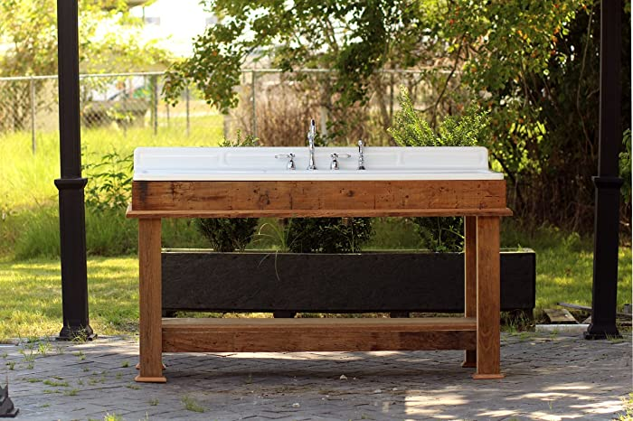 refinished stamped metal double drainboard farm sink barn wood kitchen island porcelain kitchen sink stand. Interior Design Ideas. Home Design Ideas