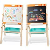 OMOTIYA Easel for Kids and Children, All-in-One Wooden Kids Art Easel with Paper Roll, Height Adjustable Magnetic Board, Whit