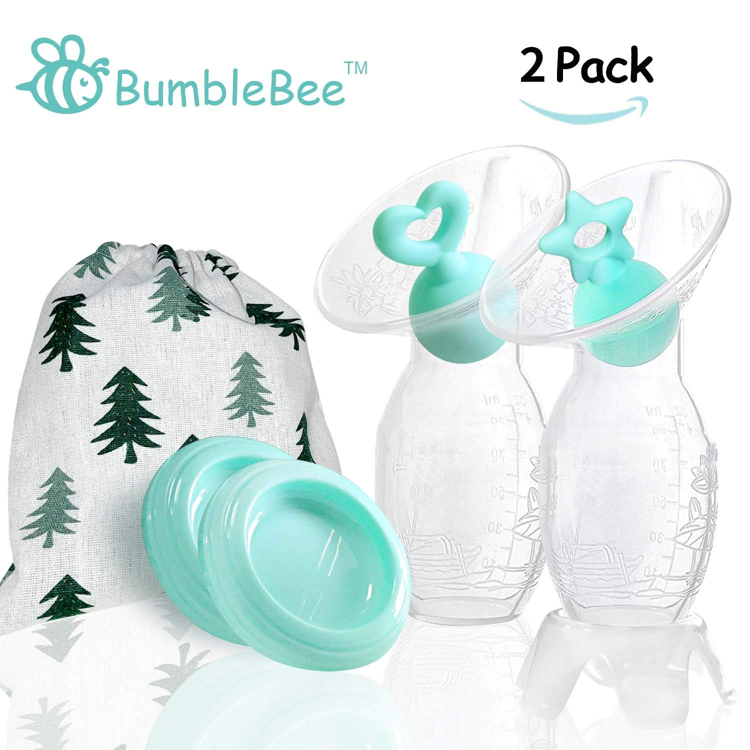 Bumblebee Manual Breast Pump with 2 Pack Breastfeeding Milk Saver Green Star &Heart Stopper& lid in Gift Box Breastpump 100% Food Grade Silicone bpa PVC and Phthalate Free