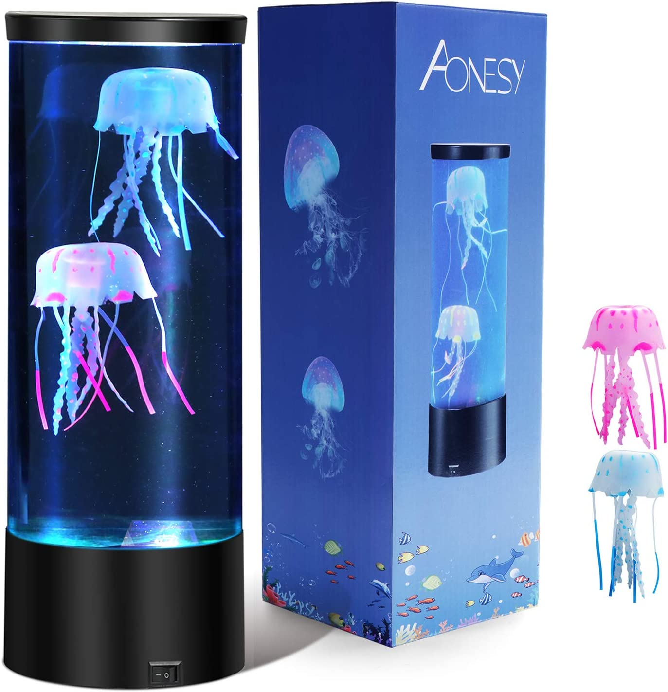 Jellyfish Lamp with Color Changing Lights-Artificial Mini Aquarium Night Light Romantic Gifts for Kids Men Women Dad Mom-Home Office Room Desk Decor Lamp for Christmas Birthday (Grey)