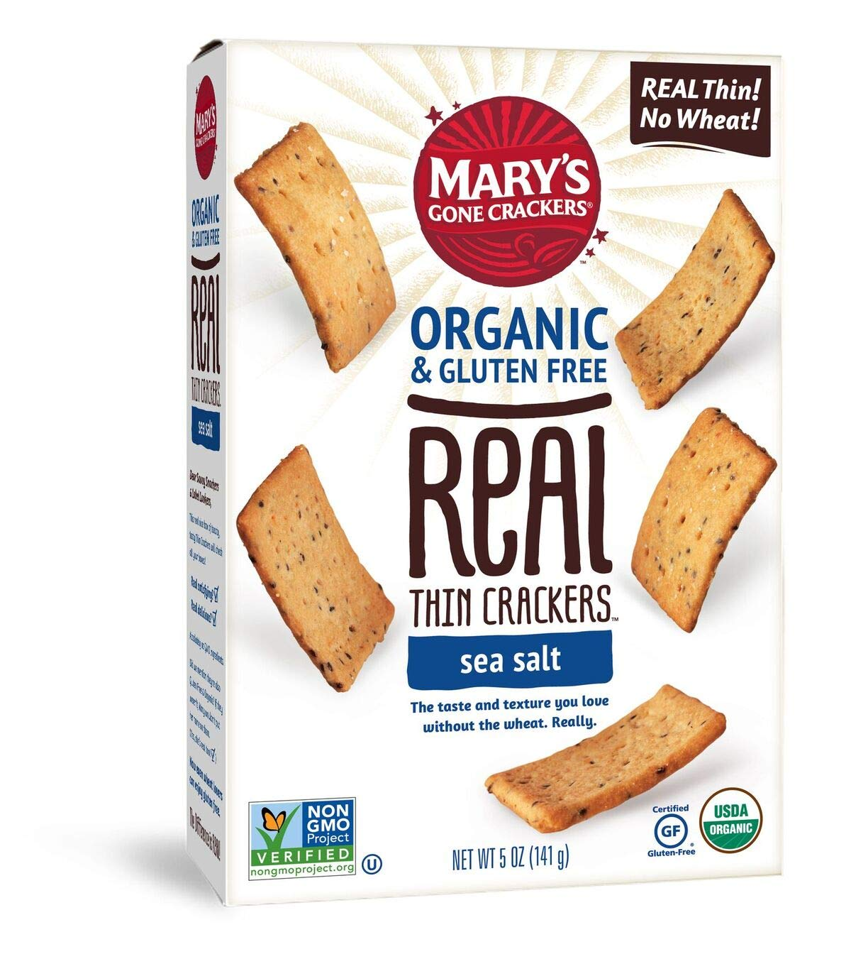 Mary's Gone Crackers Real Thin Crackers, Made with Real Organic Whole Ingredients, Gluten Free, Sea Salt, 5 Ounce (Pack of 6) by Mary's Gone Crackers