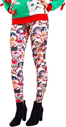 Women's Cat Christmas Leggings - Cute Kitten Ugly Christmas Sweater Party Tights for Girls