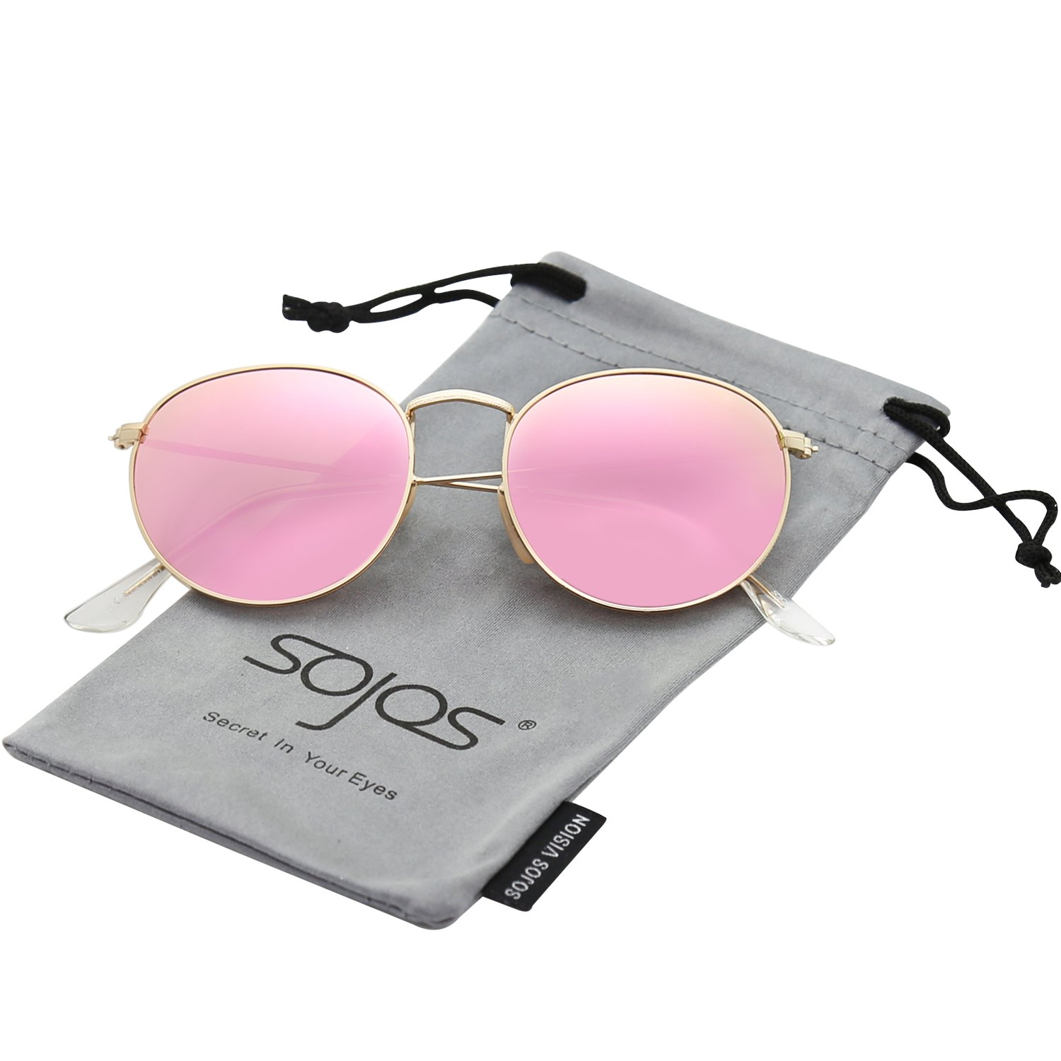SOJOS Small Round Polarized Sunglasses Mirrored Lens Unisex Glasses SJ1014 3447 with Gold Frame/Pink Mirrored Lens