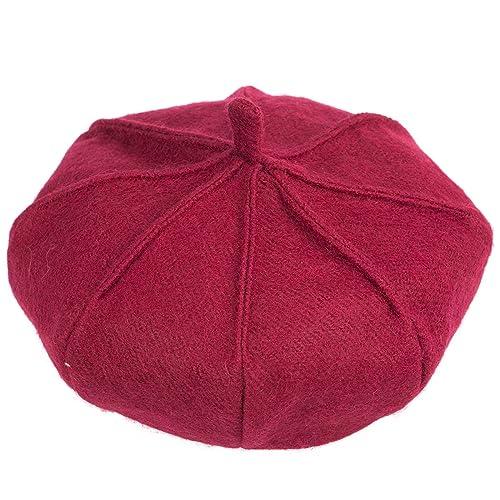 Boinas de calabaza - Wool Red ManChDa Boinas de estilo británico para mujer