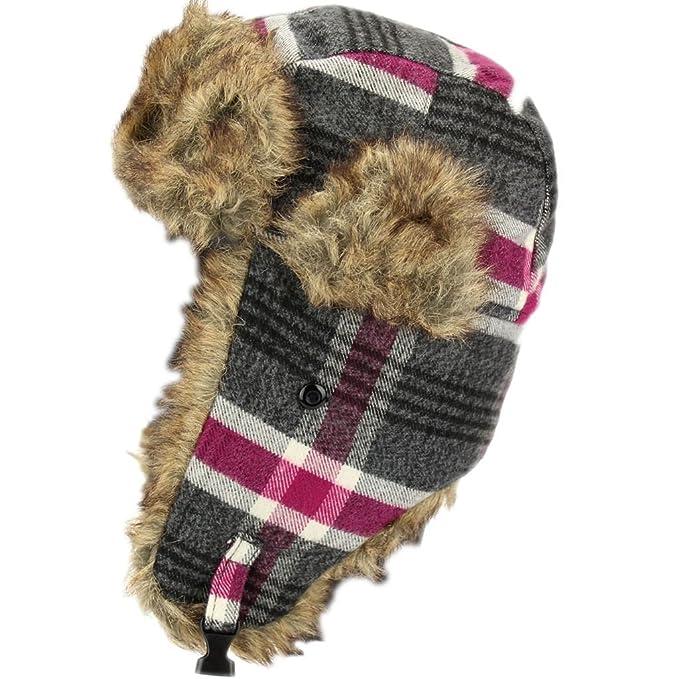 Cálido invierno Trapper gorro de cuadros escoceses con ribete de ...