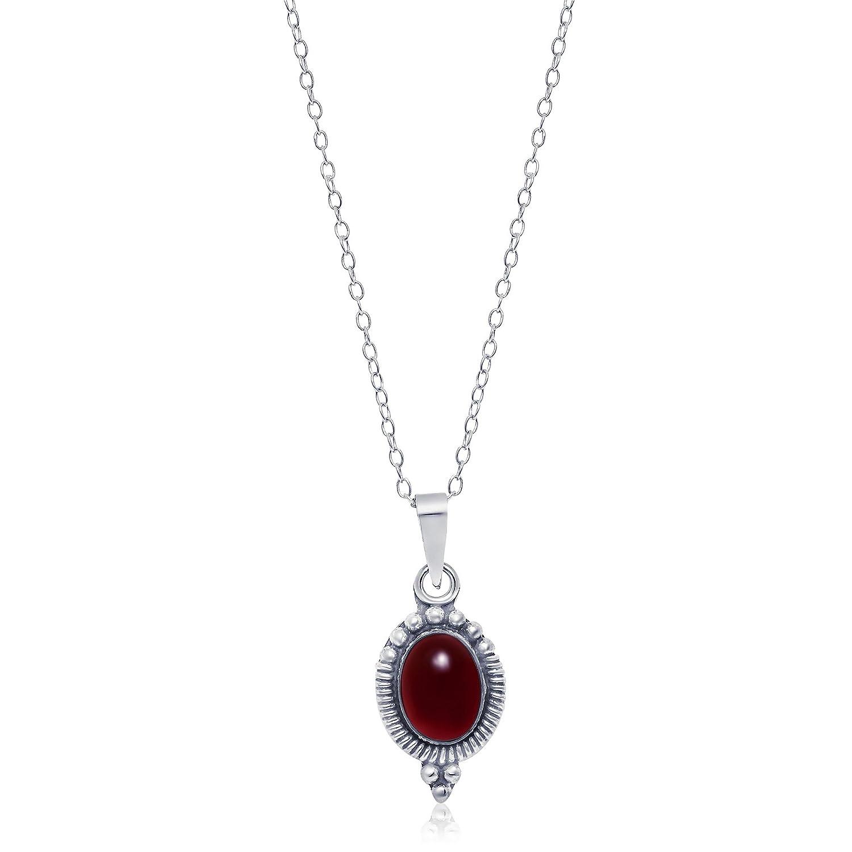 Sterling Silver Oval Carnelian Stone Bali Bead pendant, 13mm