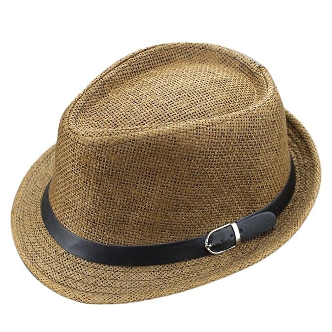 64f0ab09c8c50 Leisial Sombreros de Jazz de los Niños Sombrero de Paja Playa Sombrero del  Sol Gorro de Viaje Verano para Unisex Niños Bebé Café  Amazon.es  Ropa y ...