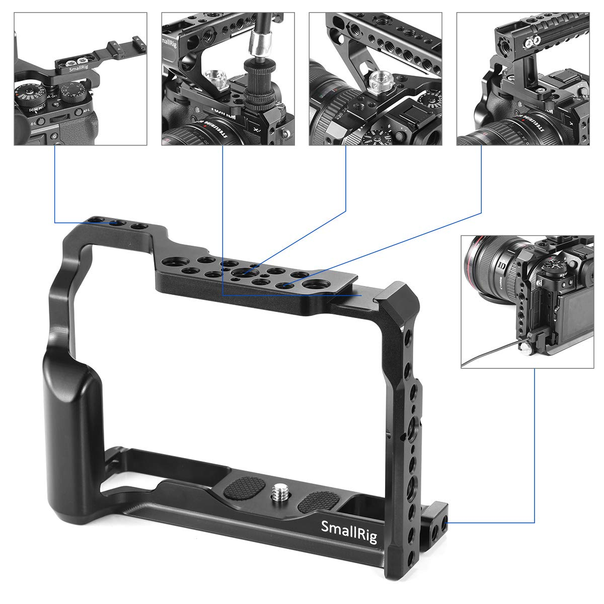 SMALLRIG Camera Cage for Fujifilm X-T3, Aluminum Alloy Cage with Cold Shoe, NATO Rail, Threaded Holes for Arri 3/8'',1/4''-20,3/8''-16 (2228) by SMALLRIG (Image #5)