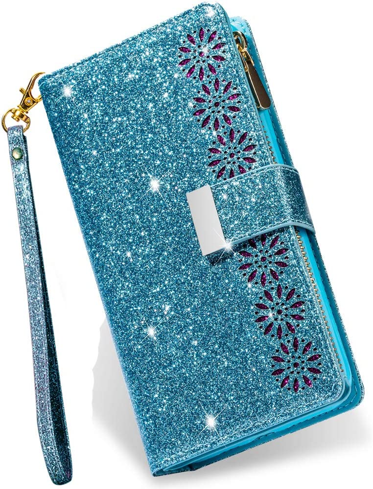 iPhone SE 2020 Wallet Case for Women,iPhone 8 Case with Card Holder,Kudex Glitter Sparkly Bling Leather Flip Magnetic Stand Zipper Pocket Case Purse with 9 Card Slot Wrist Strap for iPhone 7(Blue)