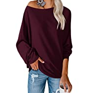 Ofenbuy Womens Oversized Knit Tunic Tops Off The Shoulder Batwing Long Sleeve Casual Lightweight Sweaters
