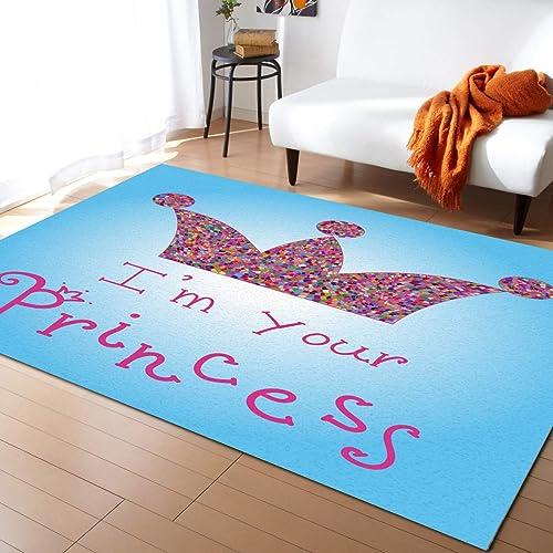 Rectangle Area Rug 5'x8' I'm Your Princess wih Beautiful Crown Floor Mats Large Area Rug Carpet - a good cheap living room rug