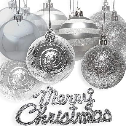 Amazoncom Banberry Designs Silver Christmas Tree Ornaments Set